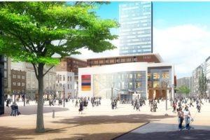 Simulation visuelle du projet de centre commercial Rive Gauche depuis la place Verte